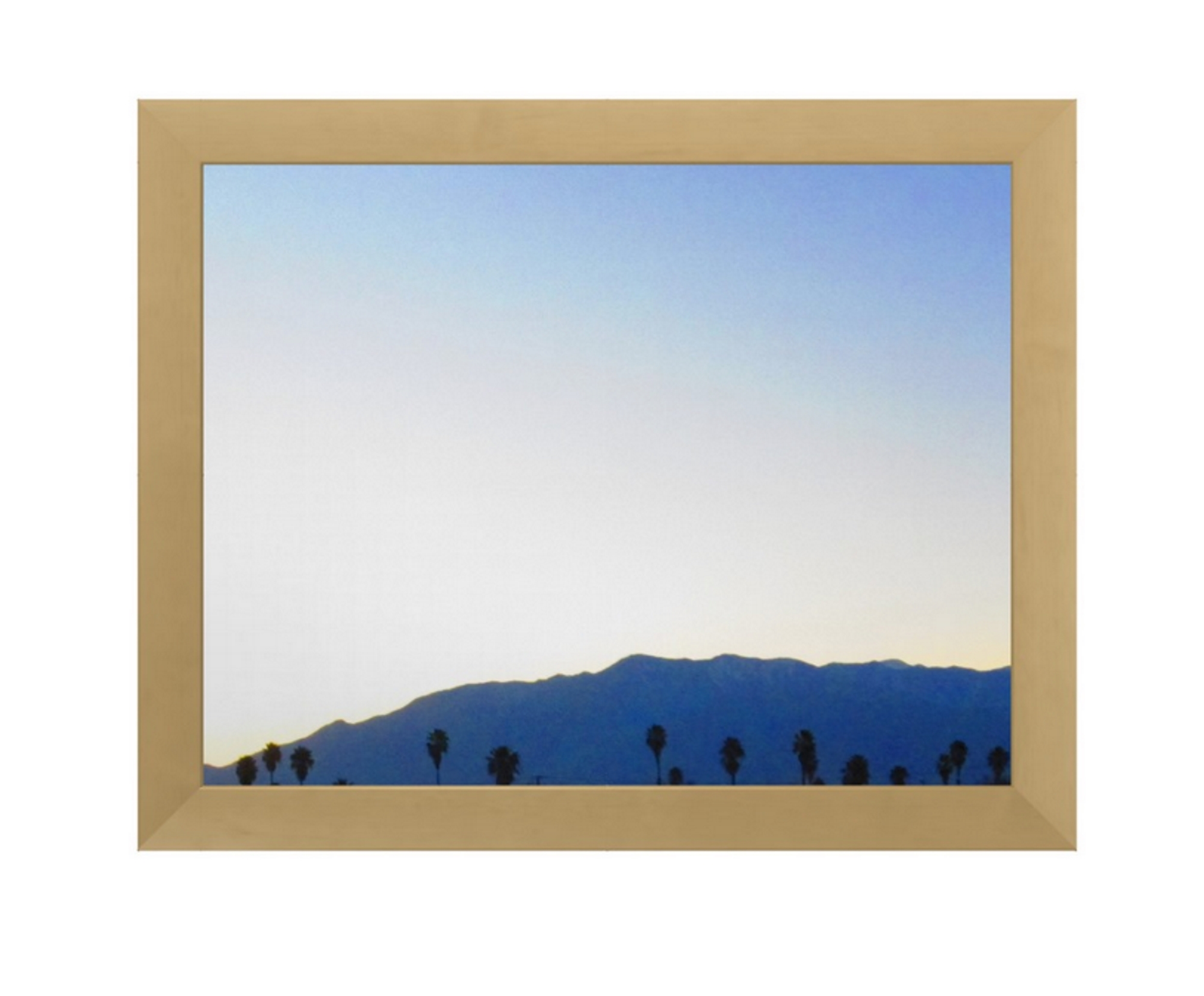 This framed poster features a photograph of the mountains and palm trees that I took this year.